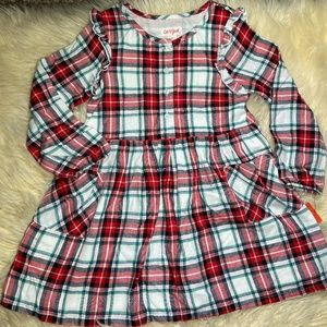 Cat & Jack Plaid Holiday Button Front Dress 4T